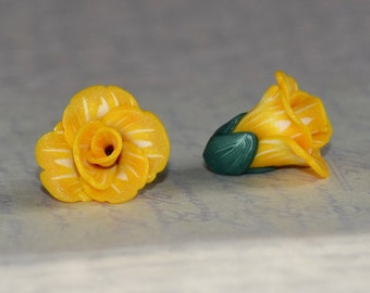 Flower beads 14mm - polymer clay bead pair - yellow and white