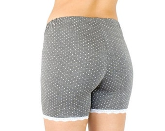 30% OFF Organic Bamboo Shorts Gray Polka Dot with Lace Trim Modesty Biker Shorts