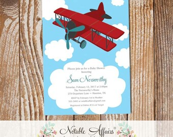 Dark Red and Teal Airplane Clouds Baby Shower or Birthday invitation - choose your own wording - airplane colors can be changed