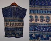 Vtg 70's India NWOT Deadstock Boho blues floral block print sheer THIN cotton gauze cap sleeve tunic top blouse sz S//M