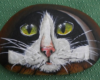 Black and White Cat Handpainted Rock Tuxedo Cat looking through mousehole Cats Eyes Mouse Beth Baker Artist
