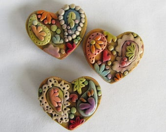 Heart Magnets, Rustic Paisley Magnets, Whimsical Heart Refrigerator Magnets