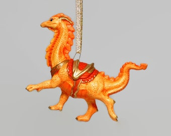 Ceramic Sunshine Orange Wingless Dragon Ornament