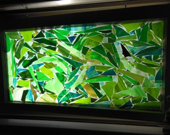"""Green Stained glass mosaic glass on glass transom window or sun catcher 27 1/2"""" x 14 9/16"""" x 1 1/4"""""""