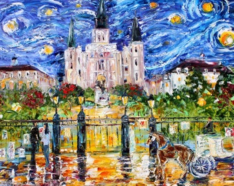 Jackson Square Stary Night- by Karen Tarlton - a 250 piece Wooden Jigsaw Puzzle from BCB Puzzles