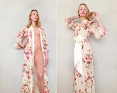 "One Custom ""Astaire"" Style long robe in lined chiffon. Full length dressing gown. Floor length robe. Long bridal robe. Bridal lingerie."