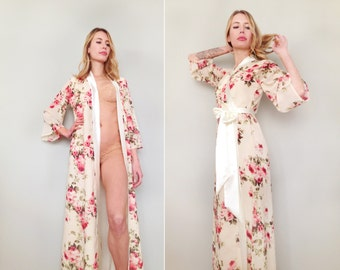 "One Custom ""Astaire"" Style long robe in lined chiffon. Full length dressing gown. Floor length robe. Long bridal robe. Bridal lingerie."