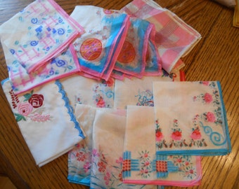 Lot of 12 Silk / Silky handkerchiefs hankies