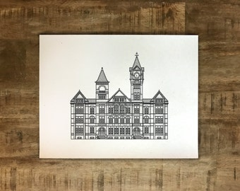 Samford Hall - Auburn University - Illustration - Multiple Sizes - (Original Print)