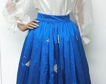 Embroidered Silk Taffeta MAXI Skirt ONLY. Petticoat. Womens Clothing. Handmade Clothing. Weddings. Party.