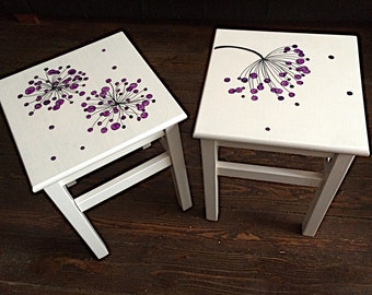 Pair of wooden stools, hand painted with allium flowers