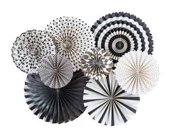 "8 PAPER FANS : 2 - 17"", 2 - 14"", 2 - 11"", and 2 - 8"" - Black Cream (Off White) & Silver Fans - Graduation Over The Hill Party Decorations"