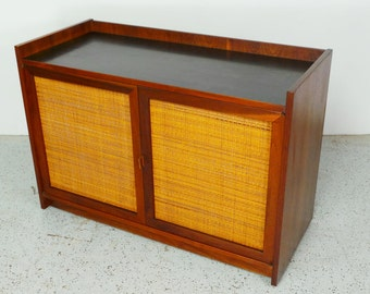 mid century modern rolling bar liquor cabinet credenza server by Founders