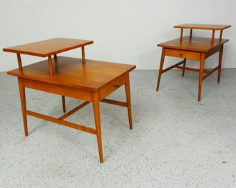 pair mid century modern Paul McCobb Planner Group end step tables