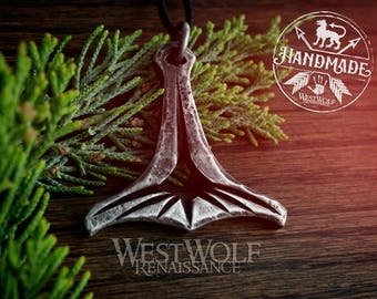 Hand-Forged Viking MJOLNIR Thor's Hammer Pendant - Norse/Medieval/Jewelry/Skyrim