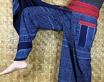 Thai long wide Pants, Cotton Style in Shades of Navy Blue