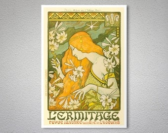 L'Ermitage, Revue Illustree Vintage Entertainment Poster by Paul Berthon  - Poster Paper, Sticker or Canvas Print