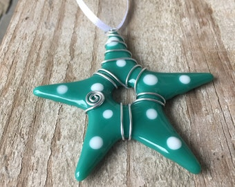Star ornament - Teal star white polka dots