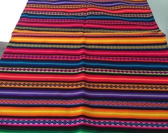 Ethnic Andean Peruvian tribal boho woven fabric manta textile upholstery Cuzco MT01