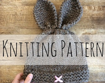 Rustic Knit Bunny Toque, Knitting Pattern,Knit Hat, Knit Hat Pattern, Pattern, Knit Bunny Hat, Bunny, Easter, Knit Bunny Beanie, Bunny Ears