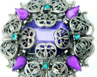 Filigree Flower Purple Teal Glass Brooch Vintage Layered Domed Pin For Women Gift For Her Mother's Day Spring Summer Jewelry Gift Ideas