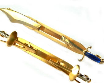 Anson Sword Tie Clips Knight In Shining Armor Vintage Mens Jewelry Pat Pend Gift For Him Accessory Suit And Tie Set Of 2 Scimitar Sword