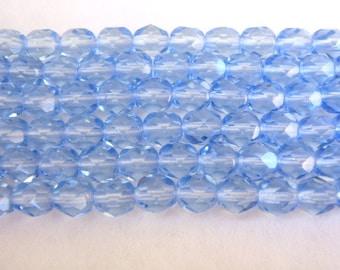 6mm Faceted Round Blue Czech Glass Beads Sapphire 34pcs