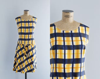 Vintage 60s Plaid Casual Dress - 1960s Fashion - Callejuela Dress