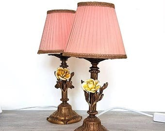 SALE Pair of Vintage Capodimonte Lamps,Antique Italian Bronze table Lamps whit Porcelain Flowers Roses,Vintage Boudoir Pink Shades Lamps