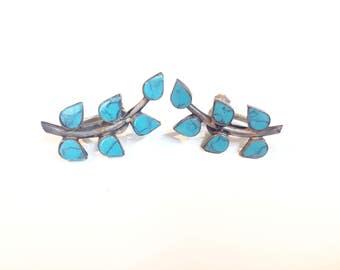 sterling and turqoise vine screw-back earrings