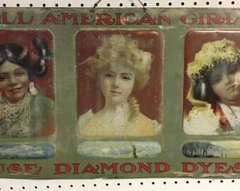 Antique Diamond Dyes tin sign 1905