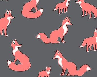 Bolt By Girl Charlee Modern Reflection Foxes Cotton Spandex Knit Fabric By the HALF Yard