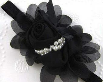 Black Flower with Pearls Baby Headband