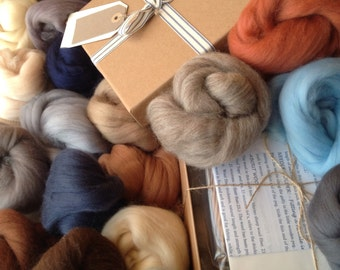 GIFT BOX, Felting kit, BEACH Colours, Needle-Felting Kit, Wools and Tools, Great gift for a crafty person,