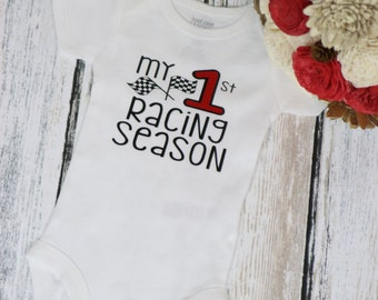 My First Racing Season Infant Bodysuit perfect for a race car themed baby shower or car themed first Birthday Party.  Race Season shirt