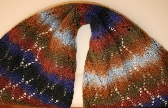 Beautiful, gradient and colourful knitted shawl. Openwork scarf.Shawl handmade.