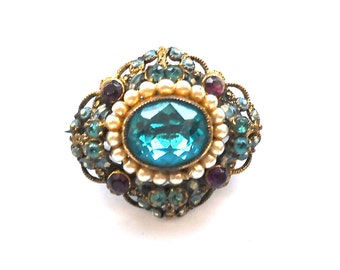 Marked Czechoslovakia  Aqua Bohemian Faceted Glass, Vintage Rhinestones and Pearls Brooch Pin circa 1915