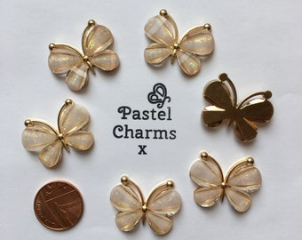 Pack of 5 metal butterfly embellishments