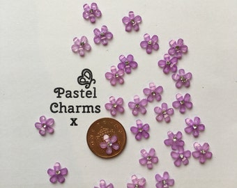 Pack of 20 purple glitter flower embellishments