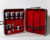 Travel Bar Kit Case Stainless Steel Cups and Barware Set Mid Century 1960s