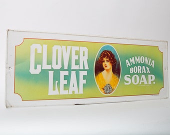 Metal Sign Advertising Clover Leaf Ammonia Borax Soap 1970s