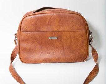 Samsonite Messenger Bag Carry-On Luggage 1970s Leather Purse