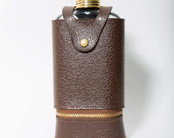 Travel Flask Set Leather Case Set Swank 1960s Plastic Shot Glass Set Just a Thimble Full