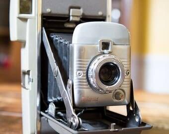 Polaroid Model 80 Land Camera 1950s Sea Foam and Chrome
