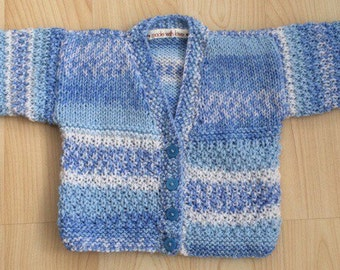 Baby boys hand knit cardigan : approx 3-6months