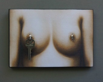 "SALE Key Holder BOOBIES to ""Perk"" Up Your Day. Key Holder & Wood Mounted Wall Art. 5.5"" x 8""  Bachelor. Man Cave. College."