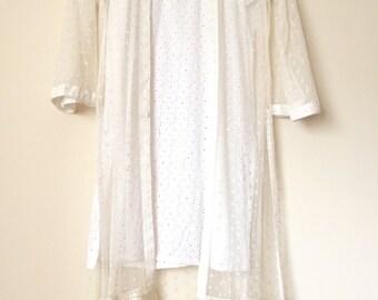 Agha Noor white chiffon jacket with white chicken kari slip, women's clothing