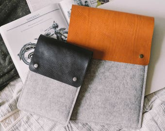 """Case for 13 Inch MacBook Air, Italian vegetable-tanned leather, wool felt, black, brown, tan, """"Courier"""""""