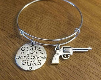 Girls Just Want To Have Guns & Gun Silvertone Charms on Expandable Charm Bracelet
