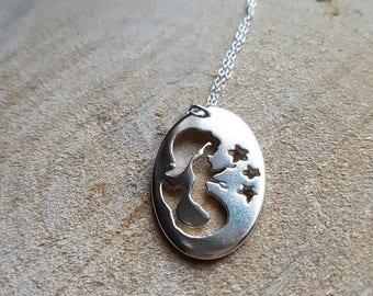 Mermaid Necklace Pendant Silver Mermaid Necklace Sterling Silver Mermaid Sea Creature Jewelry Mermaid Gift Nautical Jewelry